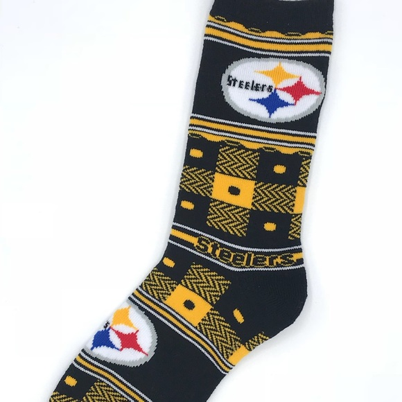online retailer 7e124 428cd Pittsburgh Steelers NFL Quilted FBF Crew Socks